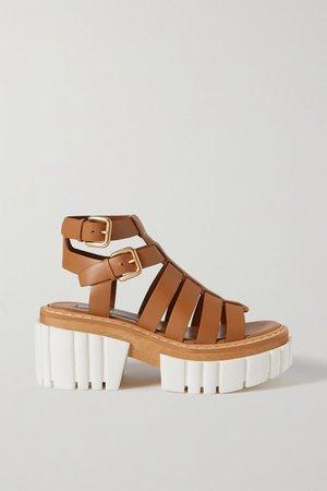 Emilie Vegetarian Leather Platform Sandals - Tan