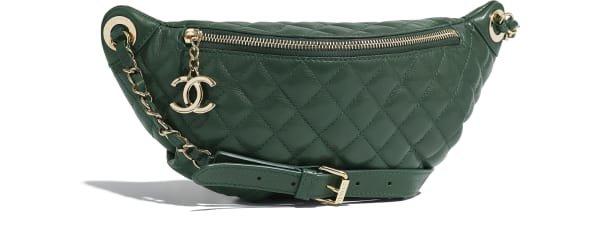 Waist Bag, calfskin & gold-tone metal., green. - CHANEL