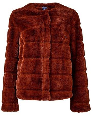Brown Short Faux Fur Jacket