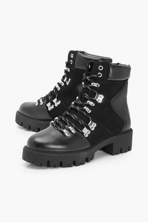Lace Up Cleated Sole Combat Boots | boohoo