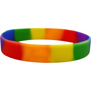 *clipped by @luci-her* Double coloured rainbow silicone bracelet - Rainbowshop