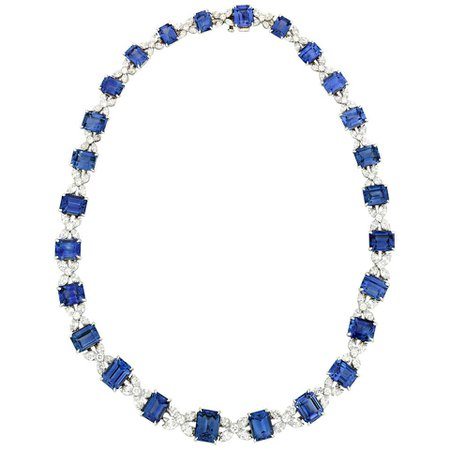 Sapphire and Diamond Necklace by Oscar Heyman For Sale at 1stDibs