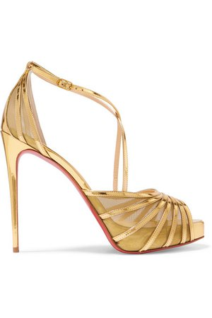 Christian Louboutin | Filamenta 120 metallic leather and mesh sandals | NET-A-PORTER.COM