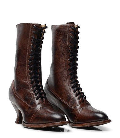 Victorian Style Oak Tree Farms Handcrafted Full Grain Leather Lace-Up Boots