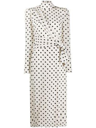 Alessandra Rich Polka Dot Print Belted Dress - Farfetch