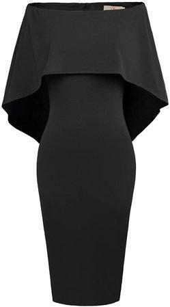 Amazon.com: GRACE KARIN Women Off Shoulder Batwing Cape Slim Midi Dress: Clothing