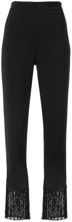High waist trousers with fringe