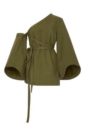 Rosie Assoulin Detachable Sleeve Wrap Top