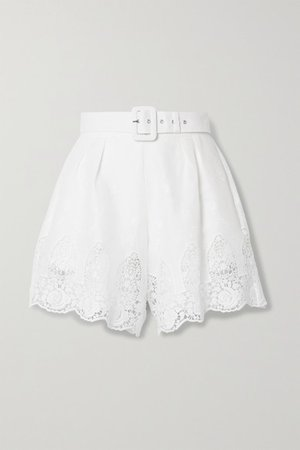 Liana Belted Crochet-trimmed Embroidered Linen Shorts - White