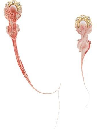 Ottolinger Pearl Red Drop Earrings - Farfetch