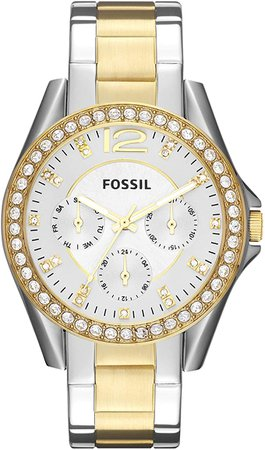 Fossil Women's Riley Quartz Two-Tone Stainless Steel Chronograph Watch, Color: Silver, Gold (Model: ES3204): Fossil Watches: Watches