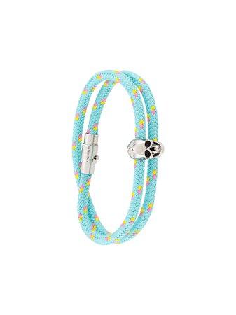 Alexander Mcqueen Skull Detail Braided Bracelet Ss20 | Farfetch.com