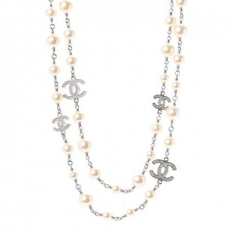 CHANEL Crystal Pearl CC Long Necklace Silver 264309