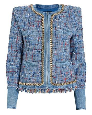 Balmain Denim-Trimmed Tweed Jacket | INTERMIX®
