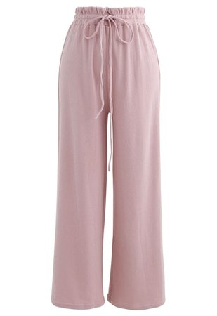 Drawstring Paper-Bag Waist Ribbed Yoga Pants in Pink - Retro, Indie and Unique Fashion