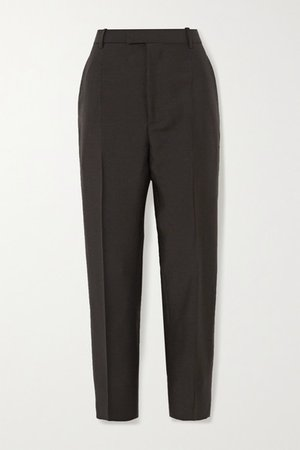 Mohair And Wool-blend Straight-leg Pants - Brown