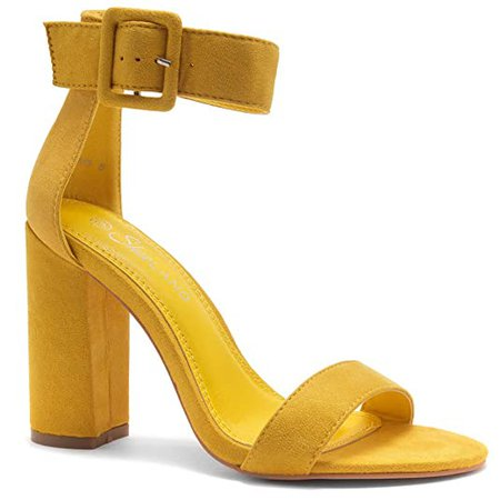 Amazon.com | Herstyle Rumors Women's Fashion Chunky Heel Sandal Open Toe Wedding Pumps with Buckle Ankle Strap Evening Party Shoes | Heeled Sandals