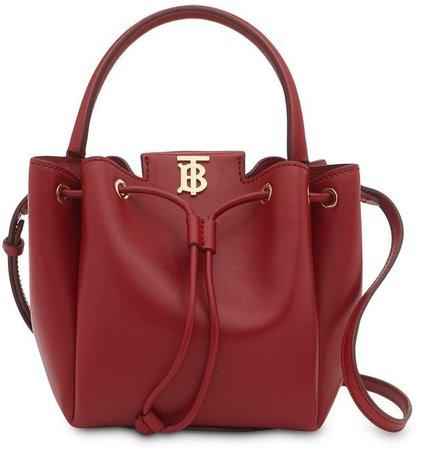Monogram motif leather bucket bag
