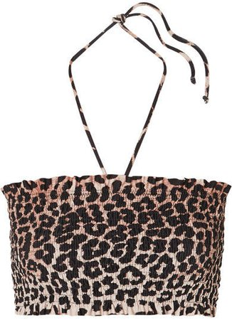 Shirred Leopard-print Bandeau Bikini Top - Leopard print
