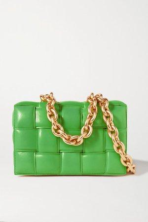 Cassette Chain-embellished Padded Intrecciato Leather Shoulder Bag - Green