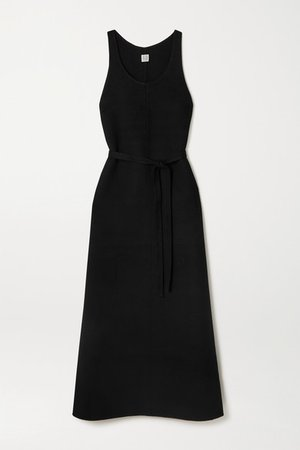Belted Wool Maxi Dress - Black