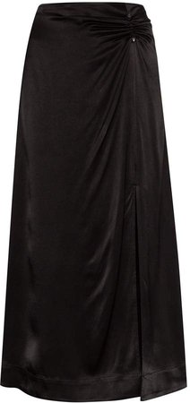 High-Waisted Ruched Midi Skirt