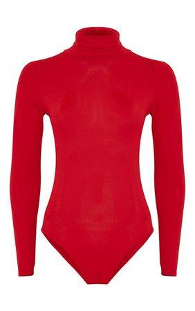Basic Red Roll Neck Bodysuit - Tops - PrettylittleThing   PrettyLittleThing USA