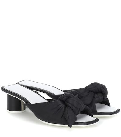 Satin and leather sandals