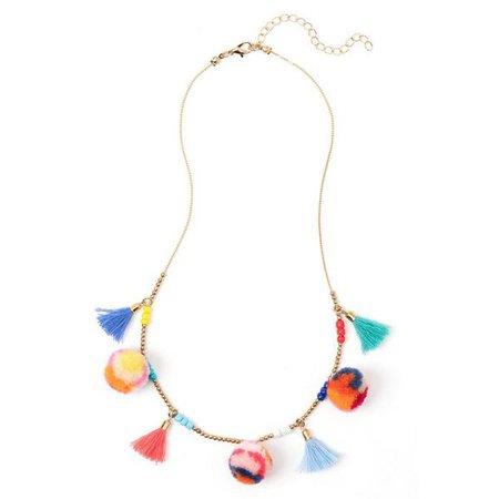 Accessories Gold Pom-Pom Tassel Necklace by Crazy 8
