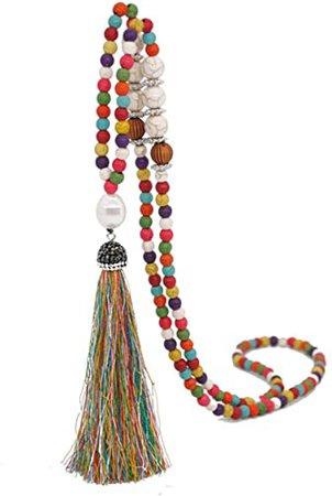 Amazon.com: Beads Necklace Chakra Boho Statement Long Chain Tassel Yoga Jewerly Handmade Fashion Jewelry: Jewelry