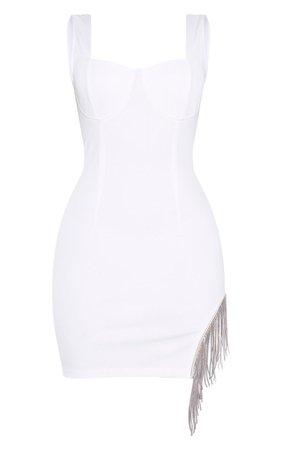 White Sleeveless Diamante Trim Hem Bodycon Dress | PrettyLittleThing