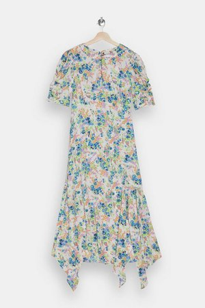 Ivory Floral Ruched Sleeve Midi Dress | Topshop