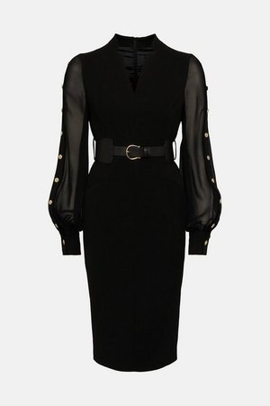 Forever Studded Sheer Sleeve Pencil Dress | Karen Millen