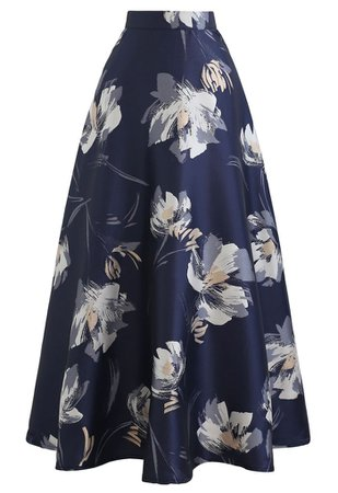 Blooming Floral Jacquard Maxi Skirt in Navy - Retro, Indie and Unique Fashion