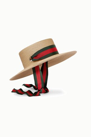 Ivory Grosgrain-trimmed raffia hat | Gucci | NET-A-PORTER