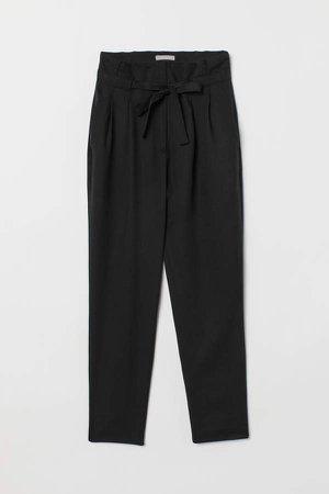 Paper-bag Pants - Black