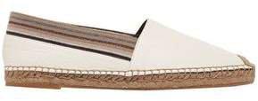 Grosgrain-trimmed Textured-leather Espadrilles