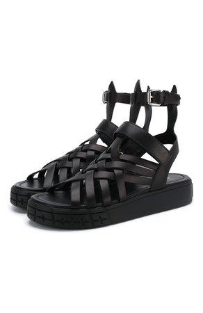 Женские черные кожаные сандалии PRADA — купить за 54000 руб. в интернет-магазине ЦУМ, арт. 1X958L-248-F0002-30