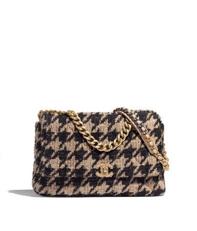 CHANEL 19 Large Flap Bag, tweed, gold-tone, silver-tone & ruthenium-finish metal, beige & black - CHANEL