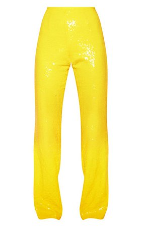 Yellow Sequin Flare Leg Pants | Pants | PrettyLittleThing USA