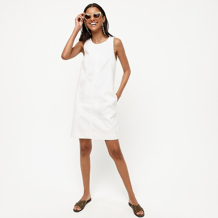 J.Crew: Denim Shift Dress In White For Women