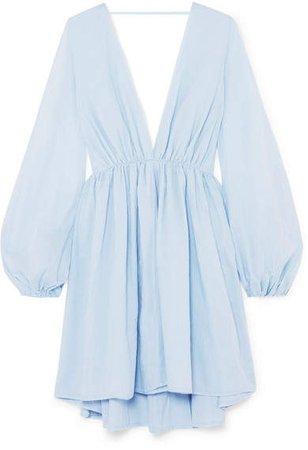 Aphrodite Gathered Cotton Mini Dress - Sky blue