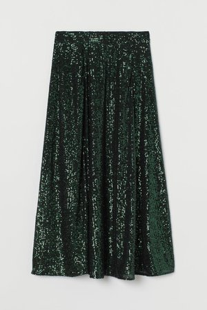 Calf-length sequined skirt - Dark green - Ladies | H&M IN