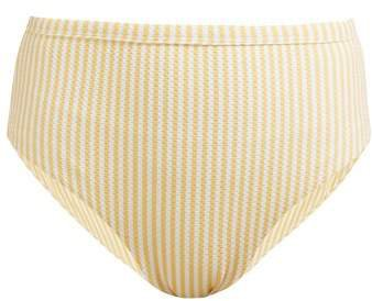 Asceno - High Rise Technical Seersucker Bikini Briefs - Womens - Yellow