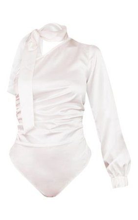 White Satin One Shoulder Neck Tie Bodysuit