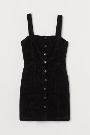 Zip-front Overall Dress - Black