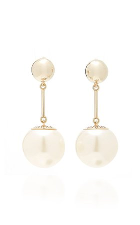 Gold-Plated And Faux Pearl Drop Earrings by Carolina Herrera | Moda Operandi