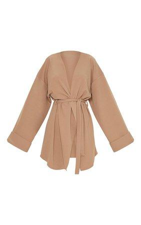 Camel Belted Oversized Sleeve Blazer | PrettyLittleThing USA
