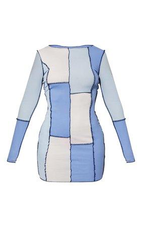 Blue Patchwork Stitch Long Sleeve Bodycon Dress   PrettyLittleThing USA