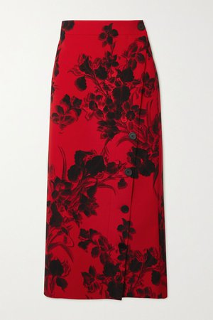 Red Floral-print wool-crepe midi skirt | Balenciaga | NET-A-PORTER